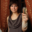 Stock Photo: Womwith glass of champagne - Cheers