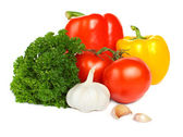 Vegetable isolated on white background - tomato, pepper, garlic — Stock Photo