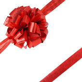 Ribbon and bow isolated on white - gift — Stock Photo