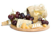 Gourmet food - wine, cheese and grapes isolated — Stock Photo
