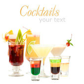 Alcohol Shot Drink on fancy blurred Cocktails Background — Stock Photo