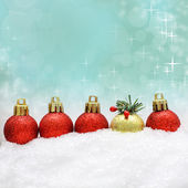 Christmas background with Xmas decoration and snow — Stock Photo