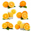 Oranges, Juice and Leafs isolated on white background - set — Stock Photo #8883825