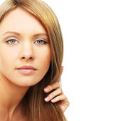 Beautiful woman, blond hair isolated - beauty background — Stock Photo