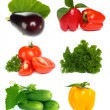 Set of vegetable fruit isolated on white background - Stock Photo