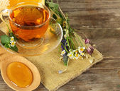 Tea and honey on background - organic food concept — Stock Photo