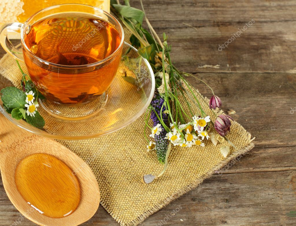 Tea and honey on background - organic food concept — Stock Photo #9388480