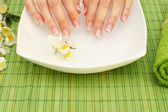 Hands spa - manicure in beauty salon — Stock Photo