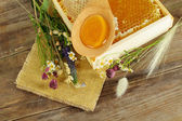 Summer background - honey and flowers — Foto de Stock