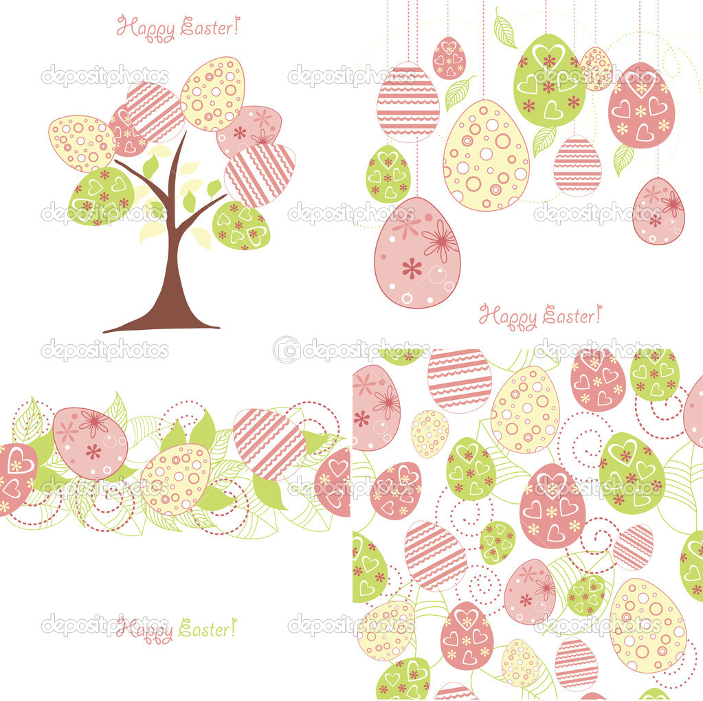 Easter background set  Stock Vector #9446607