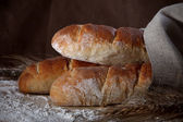 Three fresh baguettes on table — Stock Photo