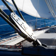 Stock Photo: Sailing yacht rigging equipment with bright spot of light