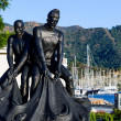 Fishermans's statue at Marmaris city embankment — Stockfoto