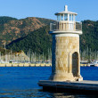 Old colorful lighthouse at Marmaris city embankment — Stock Photo