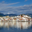 Marmaris city and fortress view from sea - Stock Photo