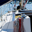 Stock Photo: Sailing boat ropes and rigging equipment