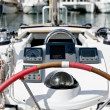 Sailing boat helm station with navigational instruments — Stock Photo #10029378