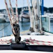 Sailing yacht rigging equipment: main sheet traveller block closeup — Stock Photo