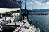 Sailing boat deck washing at marina — Stock Photo
