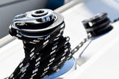 Sailing boat winch with genoa sheet rope — Stock Photo