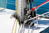 Sailing boat mast foot with details — Stock Photo