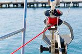 Sailing boat genoa furling system — Stock Photo