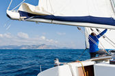 Classical mainsail reefing system — Stock Photo