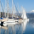 Sailing boats and catamaran in the marina. Mediterranean sea. — Stock Photo