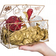 Decorative box with Christmas eve toys — Stock Photo