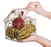 Decorative box with Christmas eve toys — Stock Photo