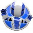 Cute Blue Robot Angry or Flexing Muscles — Stok fotoğraf