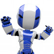 Cute Blue Robot Angry or Flexing Muscles — Stock Photo