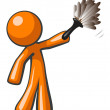 Orange Man Holding Feather Duster, Cleaner or Butler — Stock Photo