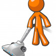Orange Man Vacuuming — Stock Photo