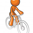Orange Woman Riding Bike — Stock Photo