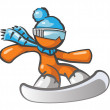 Orange Man Snow Boarding - Foto Stock