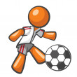 Orange Man Playing Soccer — Stock Photo