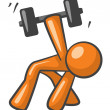 Stock Photo: Orange MWorking out with Dumb Bells