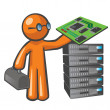 Orange MServer Technician — Stock Photo #9558873