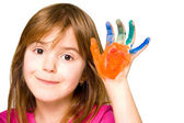 Child hands painted — Stock Photo