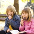 Children eat chocolate — Stock Photo