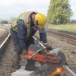 Стоковое фото: Crew Cutting Railway Track