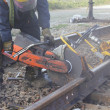 Stock Photo: Close on Cutting Railway Track