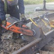 Стоковое фото: Close on Cutting Railway Track