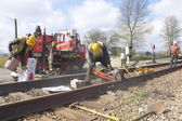 CN Crew Repairing Railway Track — Stock Photo