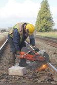 Crew Cutting Railway Track — Stock Photo