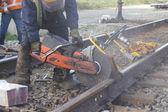 Close on Cutting Railway Track — Stock Photo