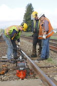 Crew Repairing Railway Track — Photo
