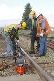 Crew Repairing Railway Track — Stock Photo