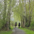 Two Riders and Horses on Trail — Stock Photo